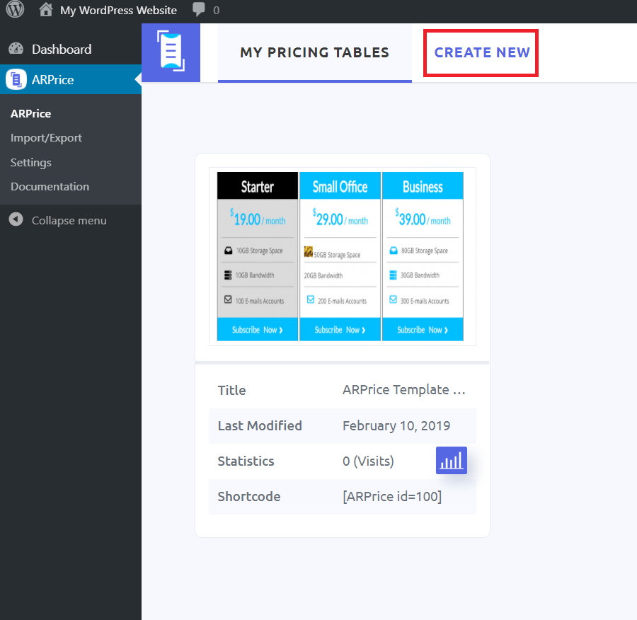 Create Pricing Table