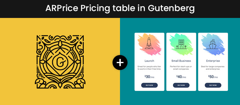 ARPrice Pricing Table in Gutenberg