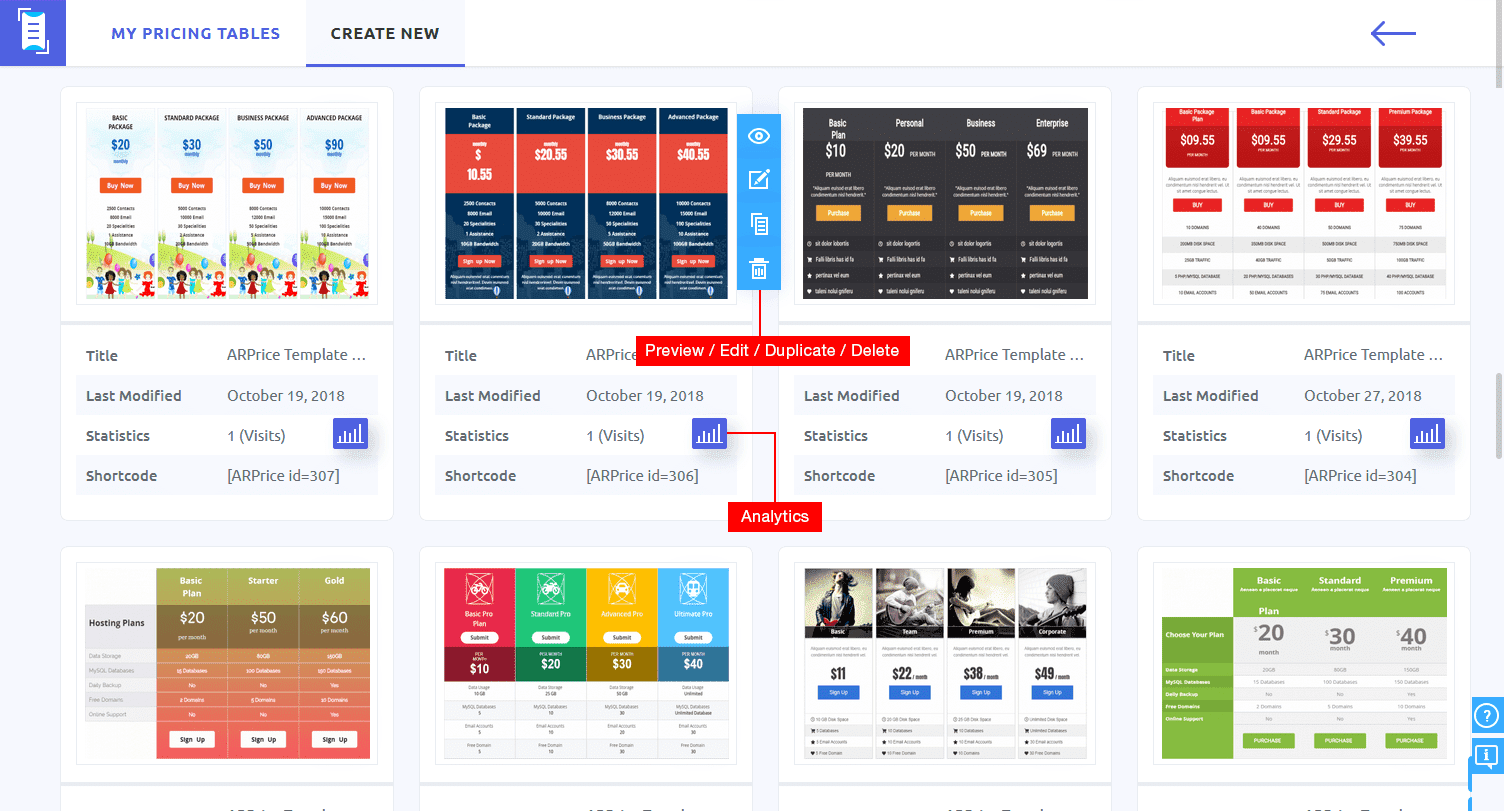ARPrice - My Pricing Table