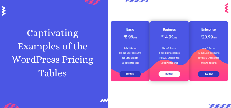 captivating examples of the WordPress pricing tables